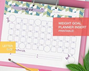 Printable Weight Goal Planner inserts - LETTER - goal tracker - fitness planner 2017 goal setting - weight loss planner - v6