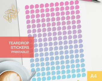 Teardrop printable planner stickers