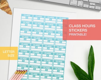 Work hours stickers for planner - LETTERSIZE - printable, print at home, digital prints - erin condren - bullet journal - green yellow teal
