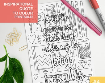 Inspirational coloring quotes printable - A little progress each day - affirmation color page - art therapy A4 - printable, print at home