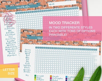 Mood tracker printable - LETTER planner inserts - self care planner - me time