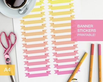 Printable banner stickers for your bullet journal