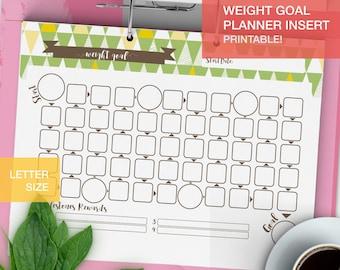 Printable Weight Goal tracker - bujo inserts - LETTERSIZE- fitness planner pdf goal setting - v2