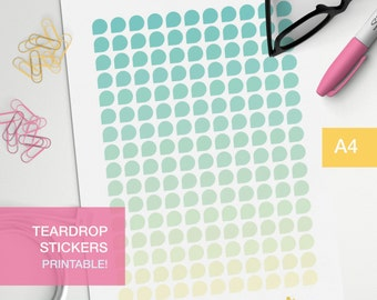 shade teardrop stickers - A4 - printable, print at home, digital prints - erin condren - bullet journal - green yellow