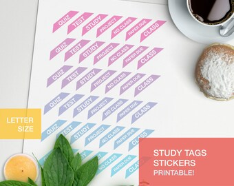 Study tags stickers - LETTERSIZE - student planner - daily journal - class schedule - school stickers - planner decorating