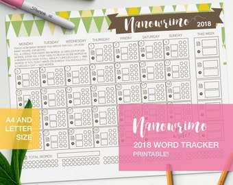 Nanowrimo writing tracker 2018 - novel printable - word count - novel writing goals - camp nano v2
