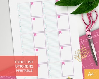 todo list sticker - A4 - printable, print at home, digital prints - erin condren - bullet journal - pink and teal