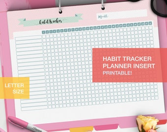 LETTER Habit tracker printable - planner inserts printable - bullet journal inserts - goal tracker - daily habits charts - habit plan v5