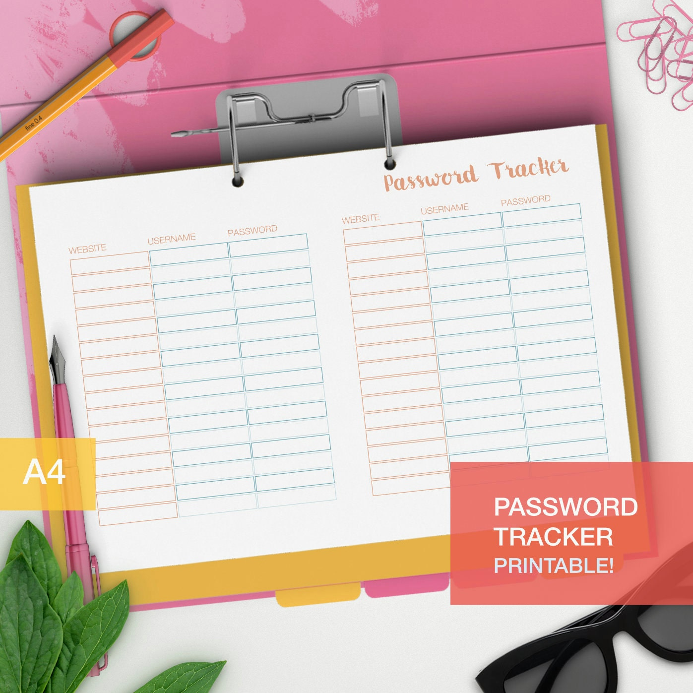Password Tracker Organizer Printable A4 Planner Insert