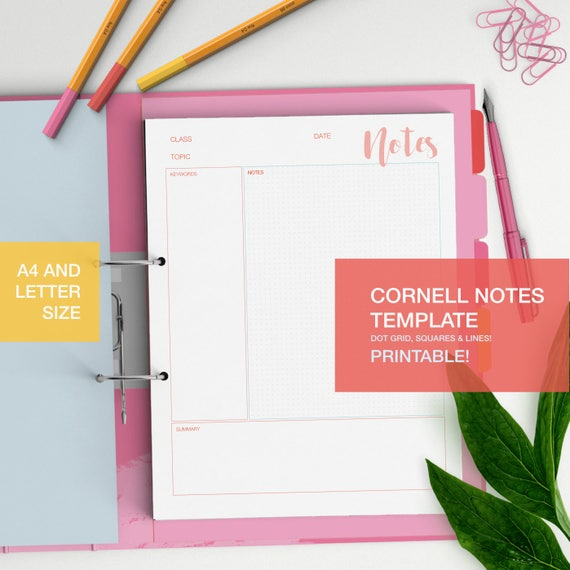 Cornell Notes Template Printable Student