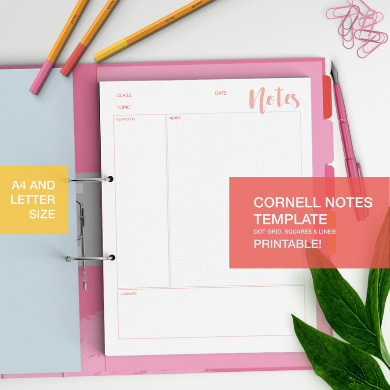 picture about Cornell Notes Template Printable identify Cornell notes template - printable university student notes - scholar aid - dot grid, sq., strains - studyblr - A4 and LETTER dimension