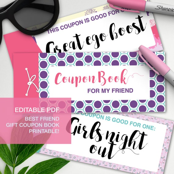 Best Friend Gift Editable Coupon Book Gift Certificate Bff Etsy