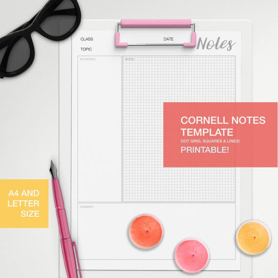 Cornell Notes Template A4 And Letter Size Dot Grid Square Lines