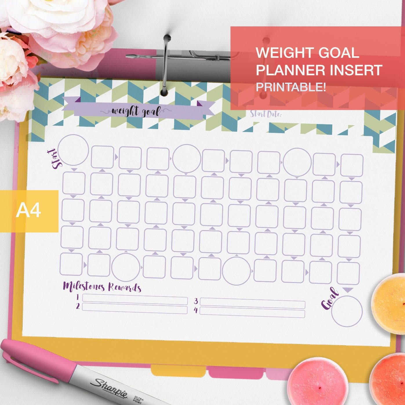 printable weight goal planner inserts a4 goal tracker fitness