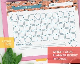 Printable Weight Goal Planner inserts - LETTERSIZE goal tracker - fitness planner 2017 goal setting - v1