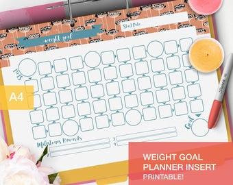 Printable Weight Goal Planner inserts - goal tracker - fitness planner 2017 goal setting - v1