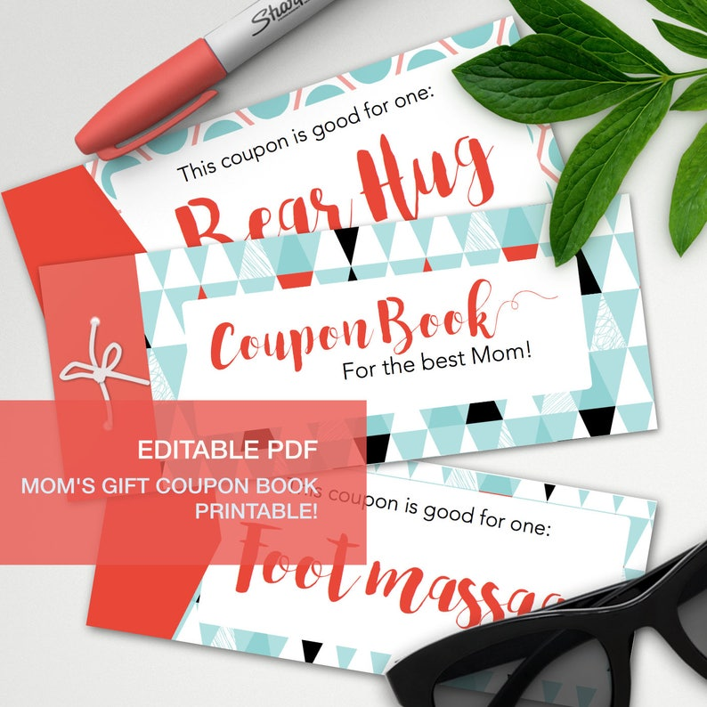 picture relating to At Home Coupons Printable known as Editable reward coupon ebook for moms - A4 - printable, print at household, electronic prints - moms working day mum