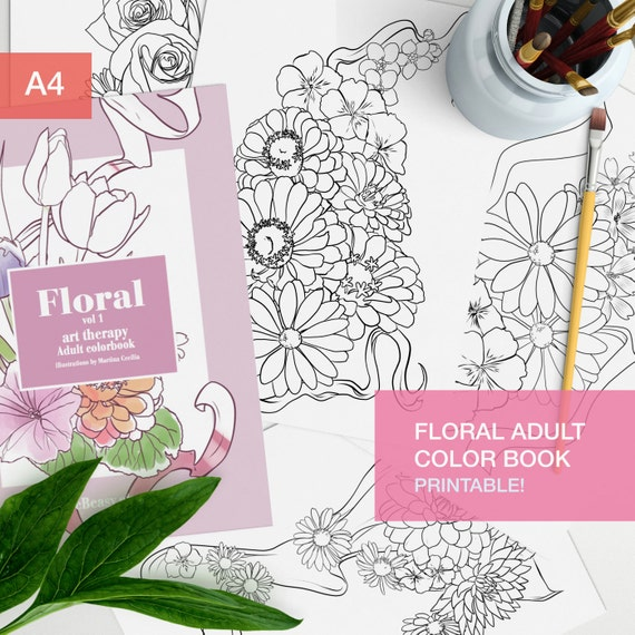 - Floral Adult Coloring Book Pdf 10 Coloring Pages Printable Etsy