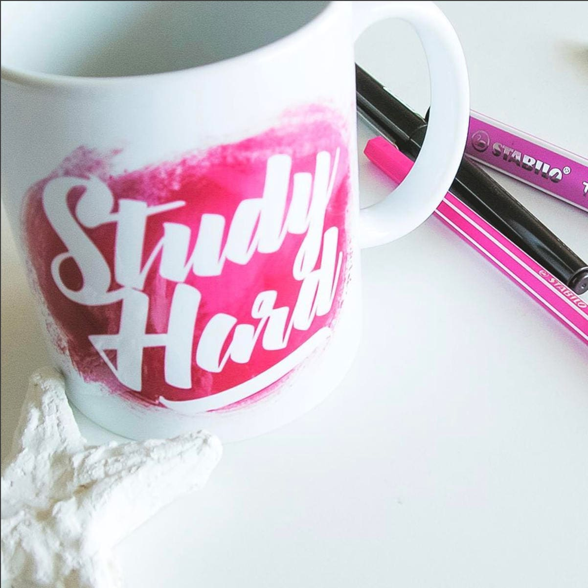 Study Hard Pink Coffee Mug College Student Gift Cute