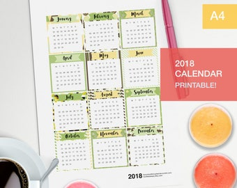 Calendar pages 2018 planner inserts