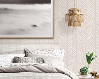 Hand Painted Chevron Pattern Repositionable Removable Wallpaper, Peel and Stick Wallpaper, Contemporary Design Self Adhesive Wallpaper
