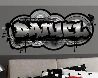 Original Digital Graffiti Art Personalized Name Vinyl Wall Decal, Sticker,  Mural For Kidu0027s Room, Boyu0027s, Teen Room Decor
