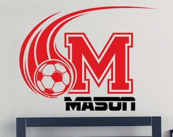 Sports Soccer Personalized Name Vinyl Wall Decal, Wall Sticker for Boy's  Room, Teen Room Decal