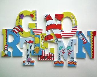 dr seuss personalized custom wood letters to spell name or initials for nursery boys girls room or playroom price per letter