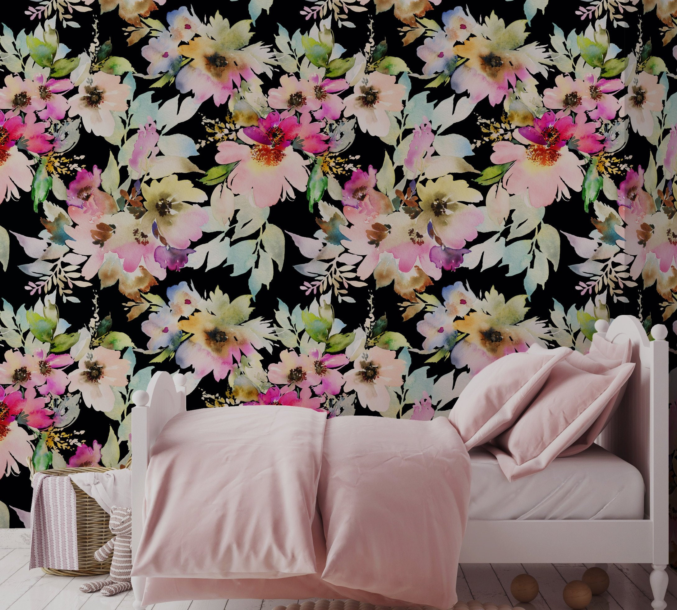 Watercolor Floral Repositionable Wallpaper Peel And Stick Etsy