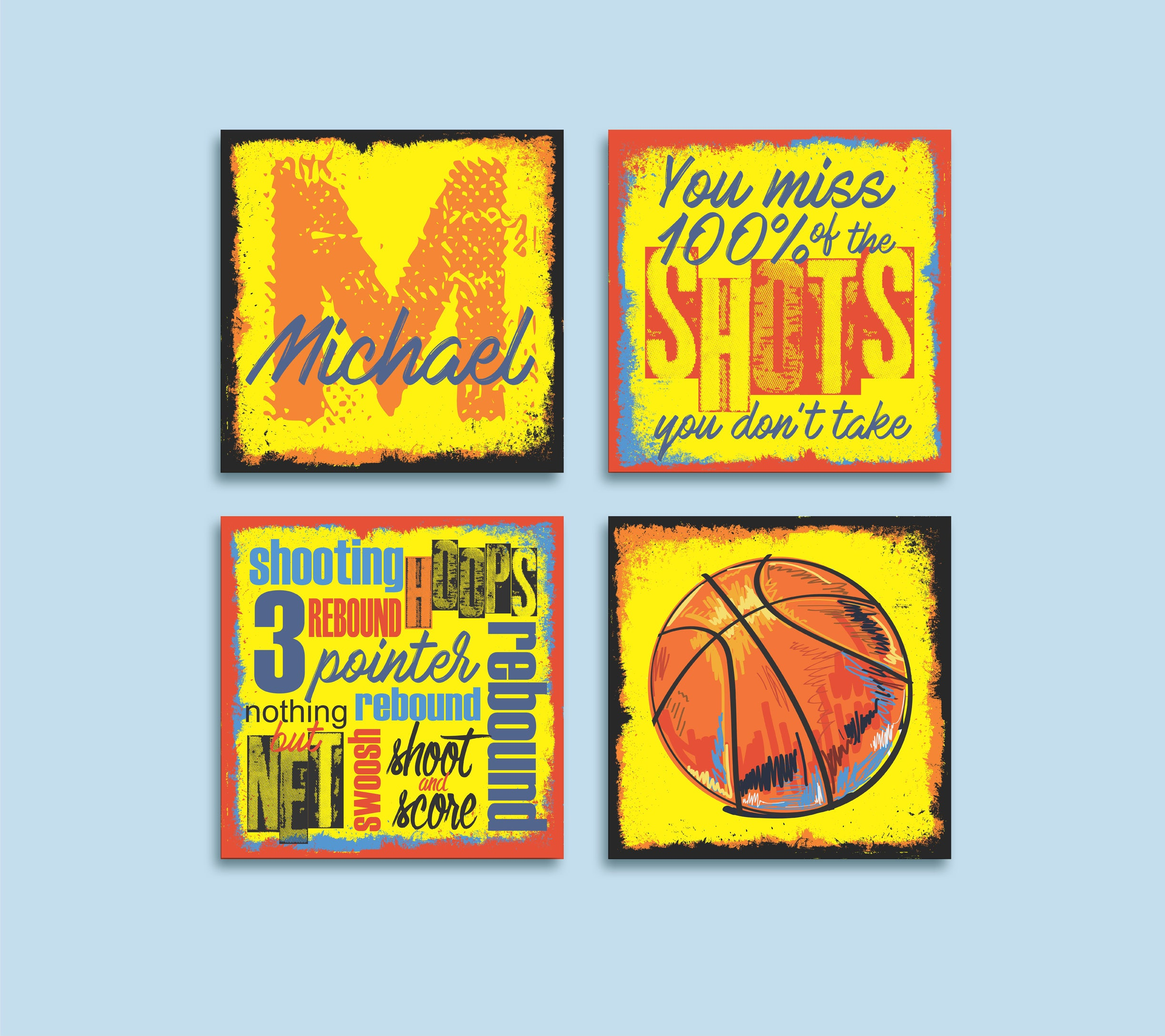 Sports Basketball Giclee Art Print Set for Boy\'s Room | Etsy