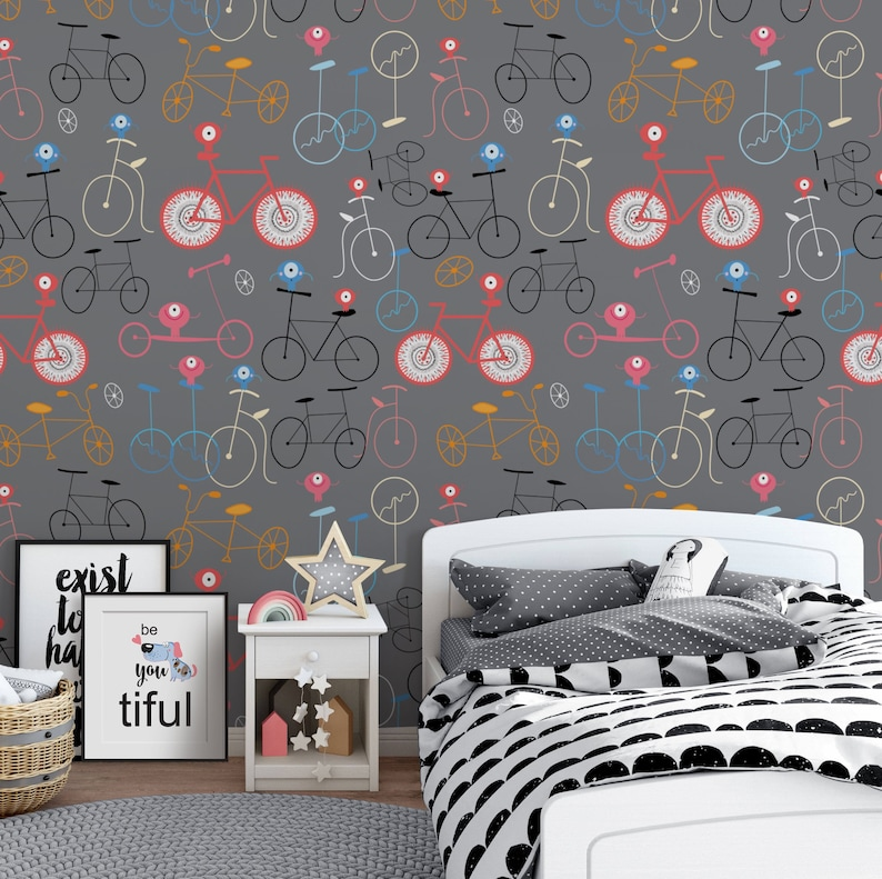 Bicycles Repositionable Removable Wallpaper Peel And Stick Wallpaper Cute Monsters Fabric Wallpaper Self Adhesive Wallpaper For Kids Room