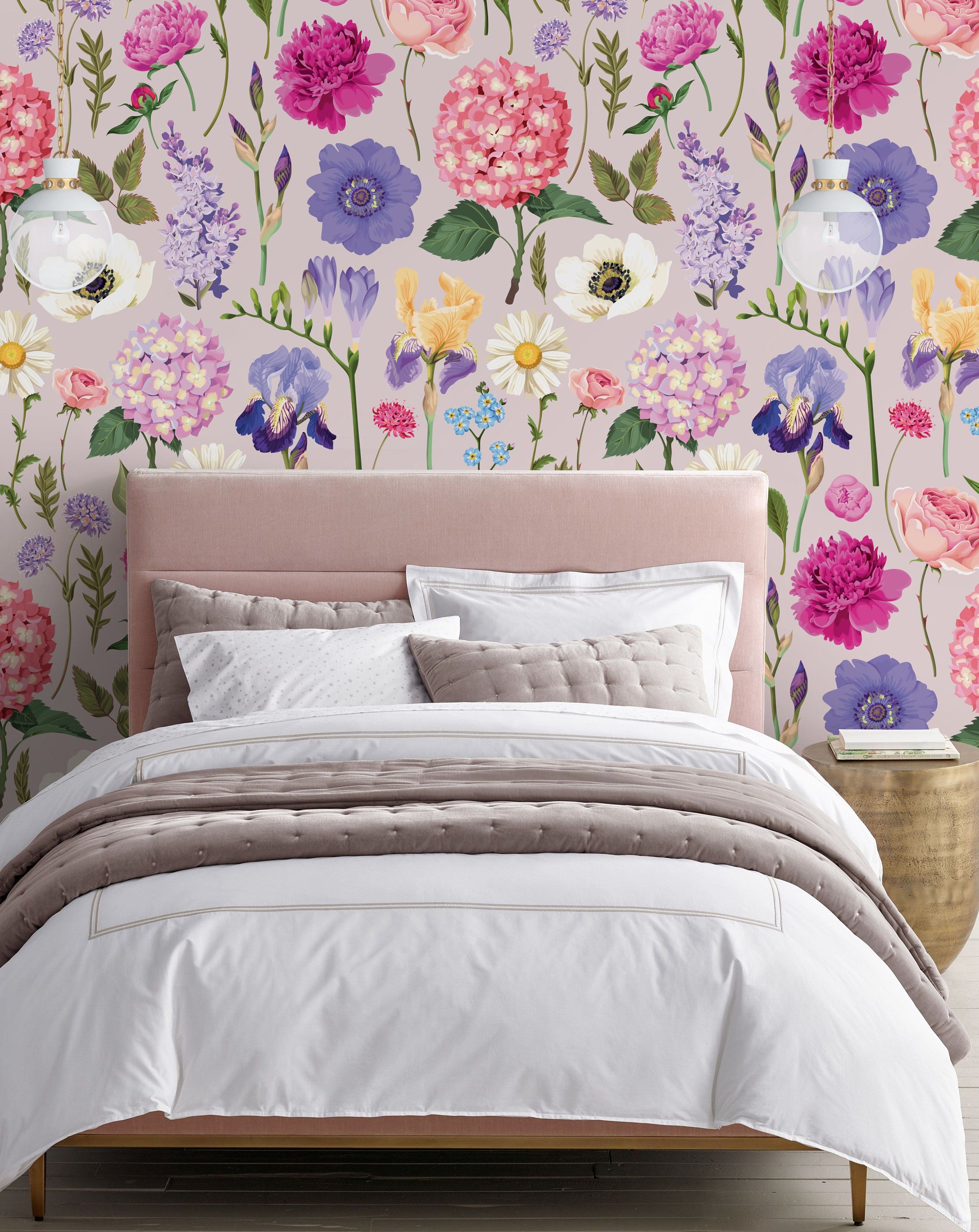 Floral Repositionable Wallpaper Peel And Stick Wallpaper Etsy