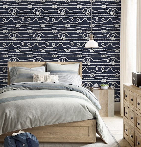 Nautical Repositionable Removable Wallpaper Peel Stick Etsy