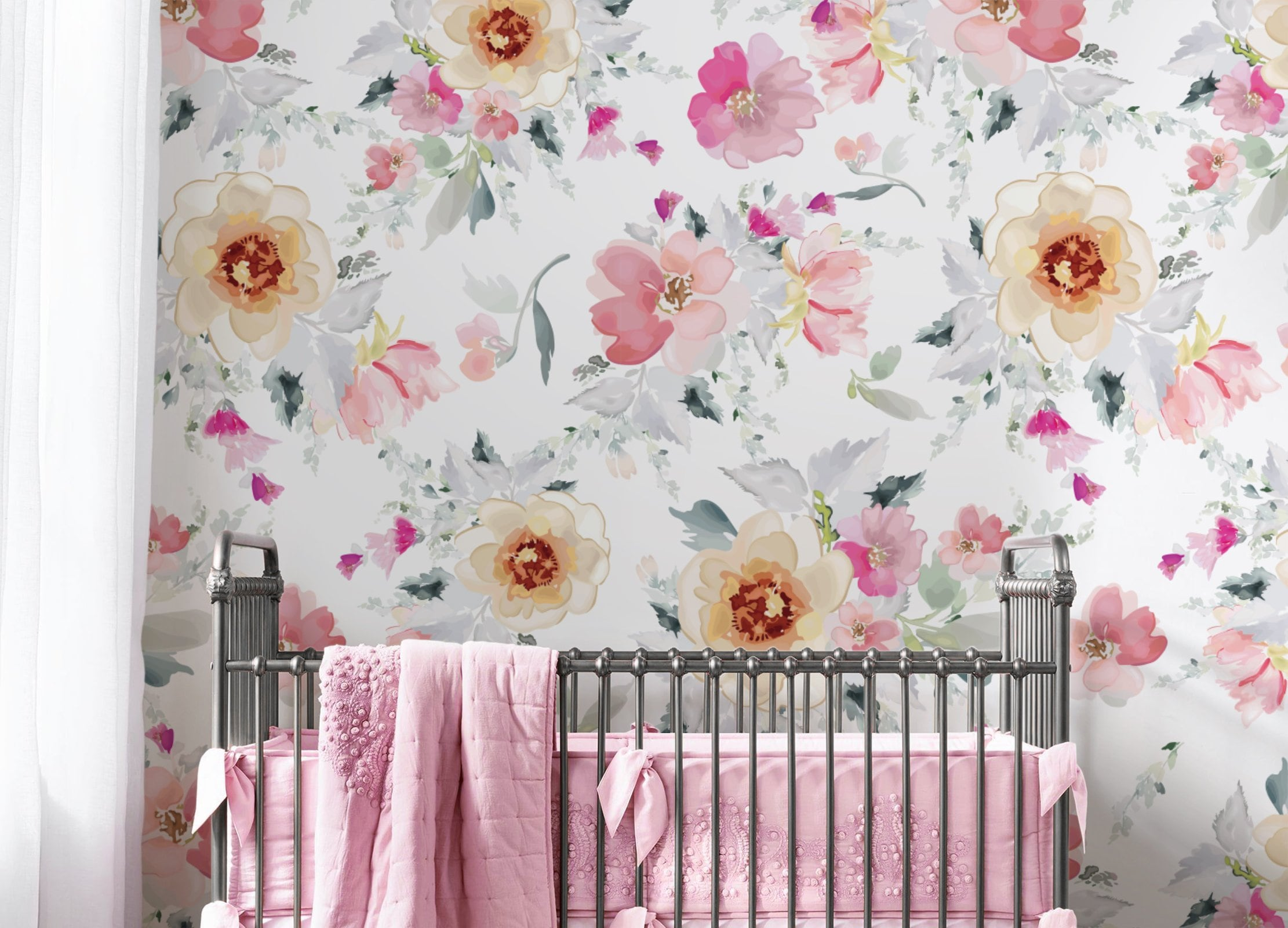 Floral Repositionable Removable Wallpaper Peel And Stick Etsy