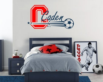 Sports Soccer Personalized Name Wall Decal, Wall Sticker for Boy's  Room, Teen Room Decal