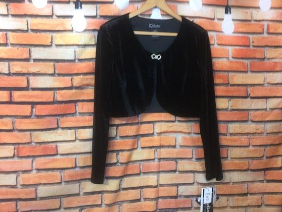 Black Velvet Pant Set, Crop Top, Never Worn Pant S
