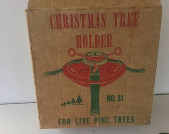 Christmas tree stand,Vintage Tree Holder,Steel Tree Stand,Made in USA, Americana,Live Pine Steel Tree stand