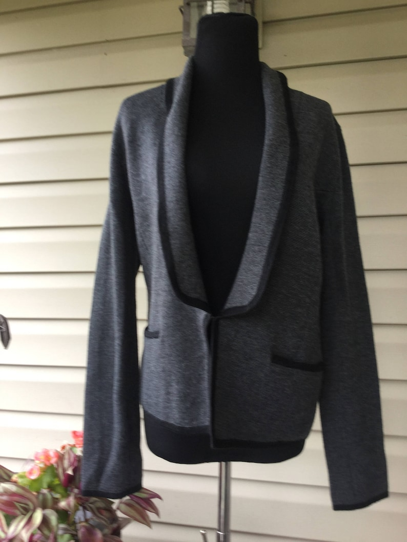 94dfbfcdb62 Vintage Ann Taylor, Loft, Cardigan, FREESHIPPING Sweater, Gray and Black ,  Size S, Jacket Sweater, Professional Women, Designer Vintage