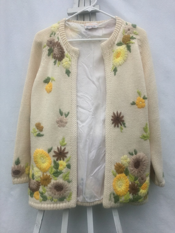 Vintage 50s,Hand Knit,Embroidered ,Sweater, Hand K