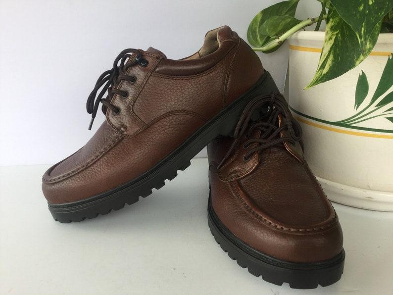 Vintage Men\u2019s Leather Shoes 11W..ThomMcAn Mens Size 11W Leather Chunky Shoes..Mens Vintage Shoes..Mens Eur 45..Brown Mens Shoe Size 11W