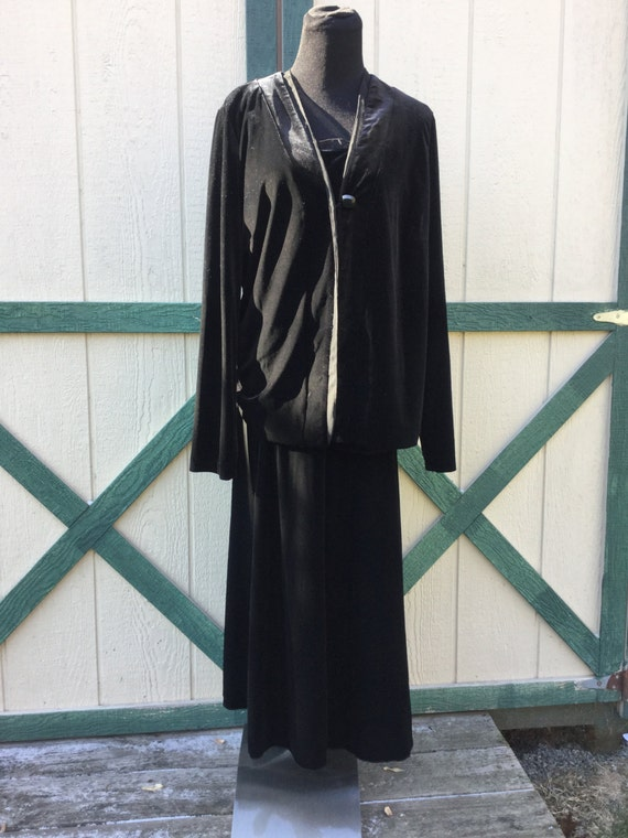 Vintage Black Velvet 3Piece Outfit,Ladies Size XL