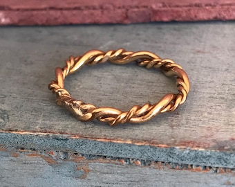 Size 2.75 Sterling Silver Gold Vermeil Twisted Band Ring
