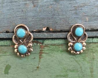 Navajo Turquoise Sterling Silver Post Stud Earrings 2g
