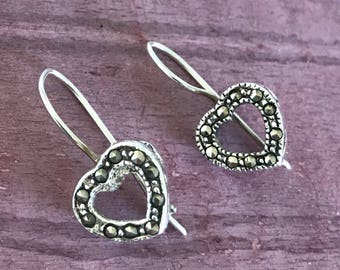 Marcasite Sterling Silver Heart with Stars On Side Cupid Love Valentine's Day Romantic Earrings for Daughter, Girlfriend, Fiancé, Wife 3g