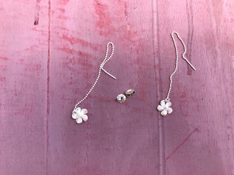 Sterling Silver Hanging Hawaiian Plumeria Beach Boho Chiv Island Ocean Earrings 2g