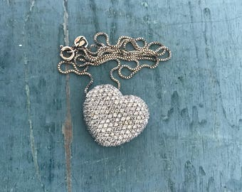 """18"""" Sparkly Cubic Zirconia Crystal Heart Sterling Silver Necklace 8.1g"""