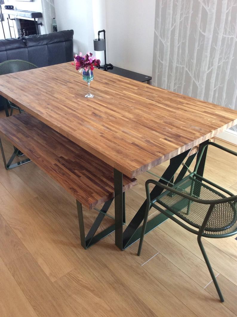 Dining Table Bespoke Steel Oak All Sizes Custom Made