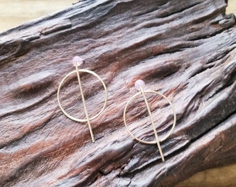 Round about... circle and bar earrings, circle hoop earrings, bar hoop earrings, geo hoop earrings