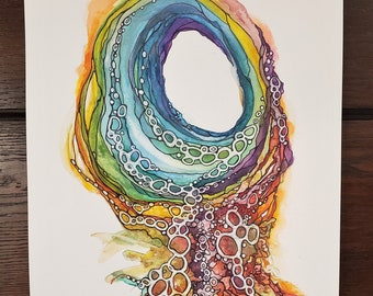 Abstract Watercolor - Original Watercolor - Love Bubbles Up - 11 x 15 Watercolor