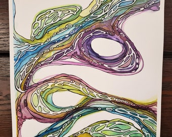 Original Watercolor Painting - Wisdom Flowing - 9 X 12 painting - Abstract Watercolor